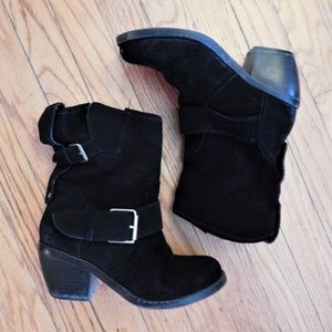 Dolce Vita Black Suede Buckle Boots Sz 6.5